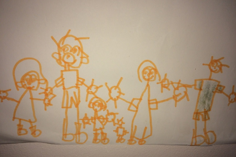 A picture by Leah of her family including the furbabies
